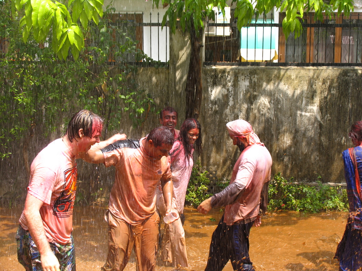 holi in India with a rain party