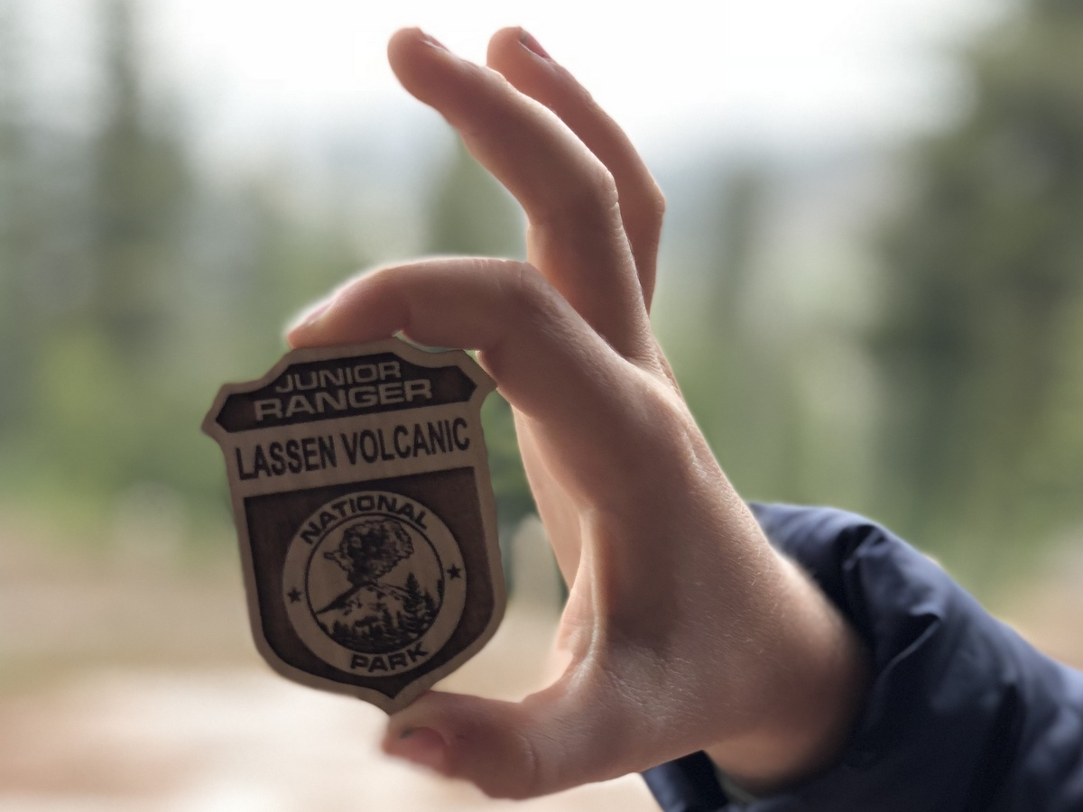 Junior ranger badge at Lassen National Park