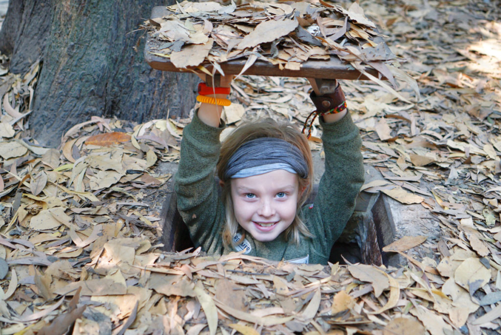 While in Vietnam with kids, you must visit the cu chi tunnels