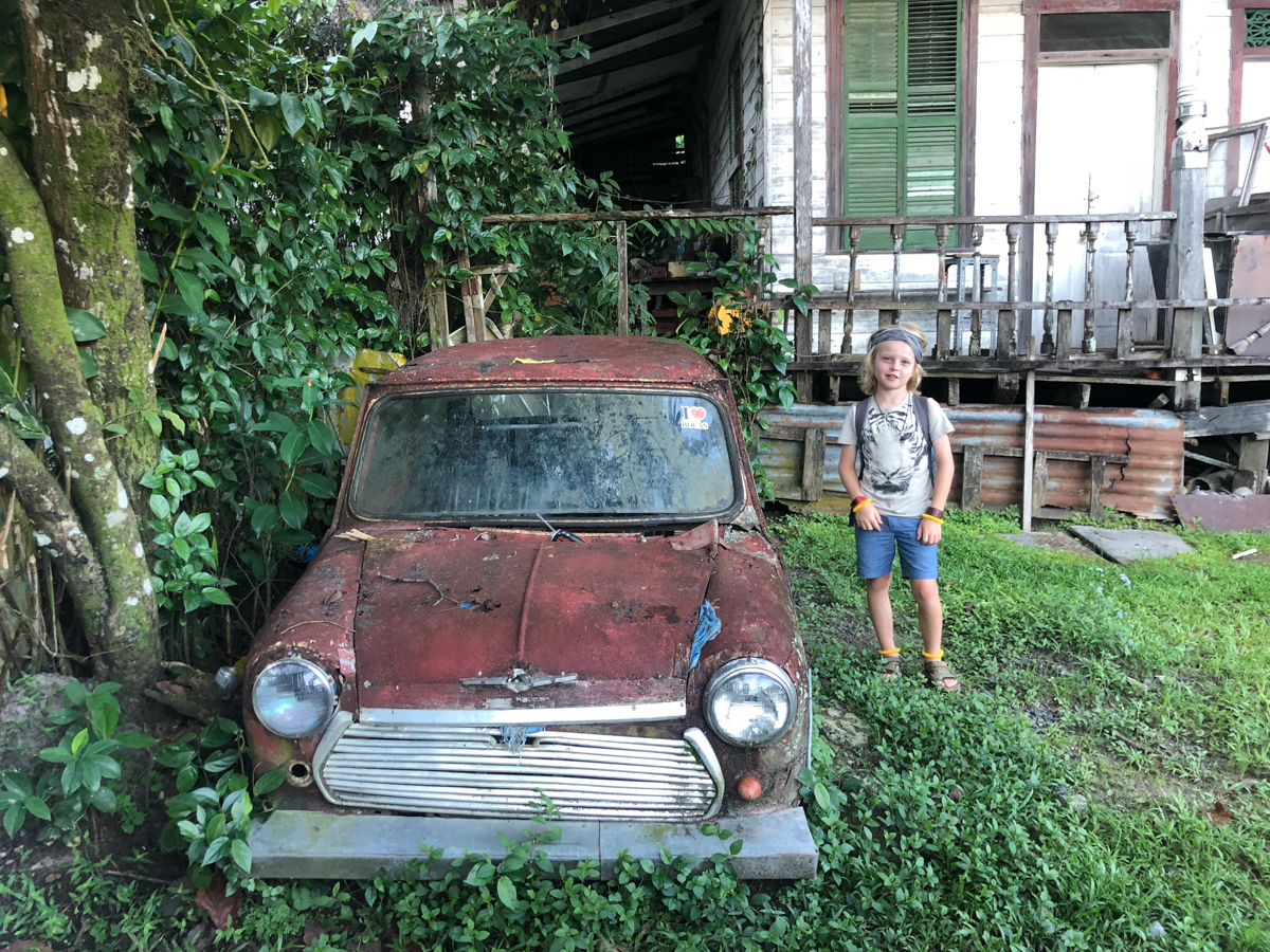 Little car, Little Cian on our Gap Year Month 3