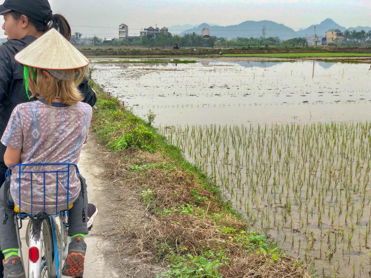 Ride bikes around a village on a homestay in Vietnam experience