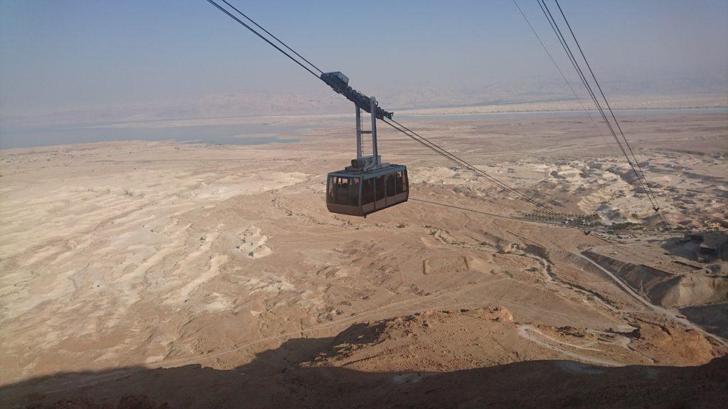 Ride a cable car at Masada when visiting Israel with kids
