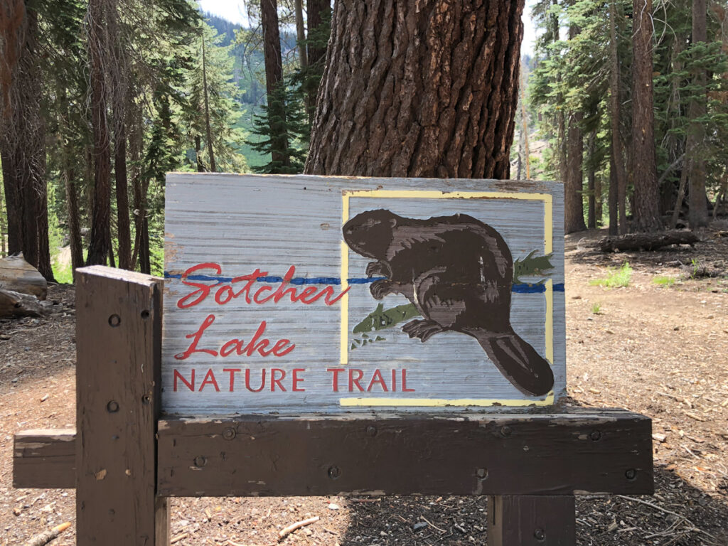 Sotcher Lake Trail sign - a cute Mammoth Lakes hikes you should check out