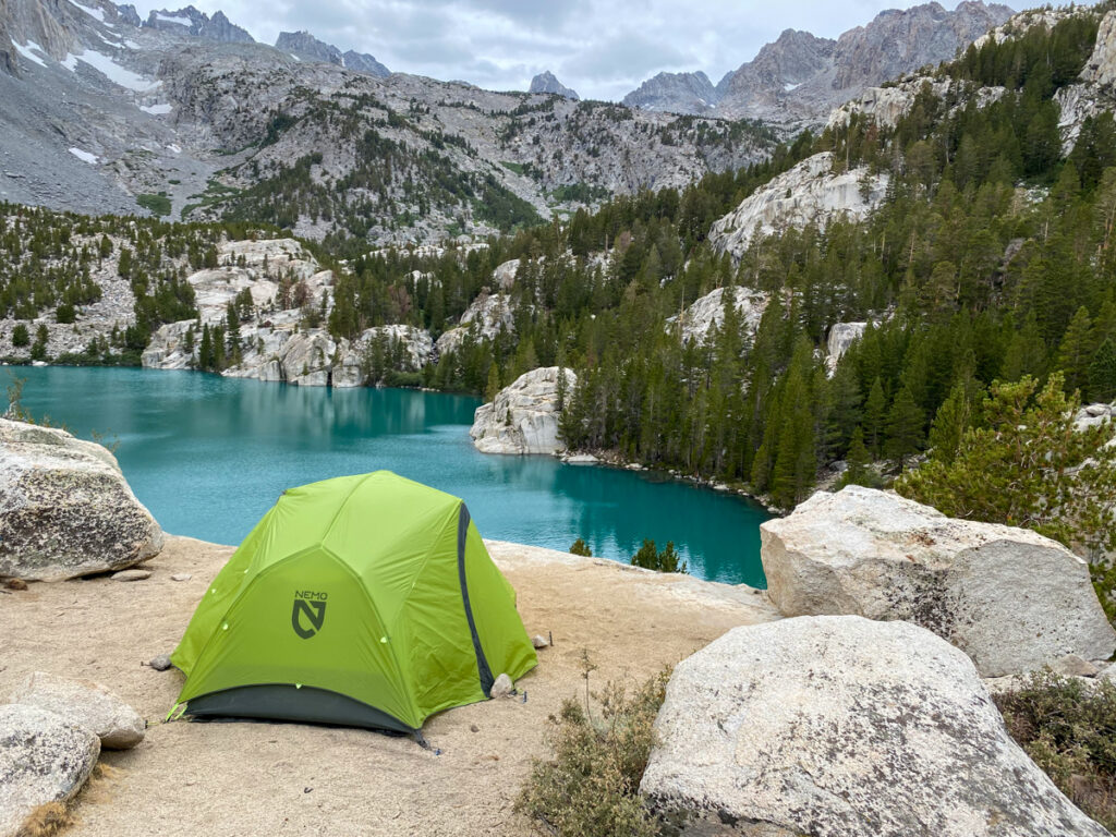 Backpacking in California at Big Pine Lakes with a green Nemo Tent