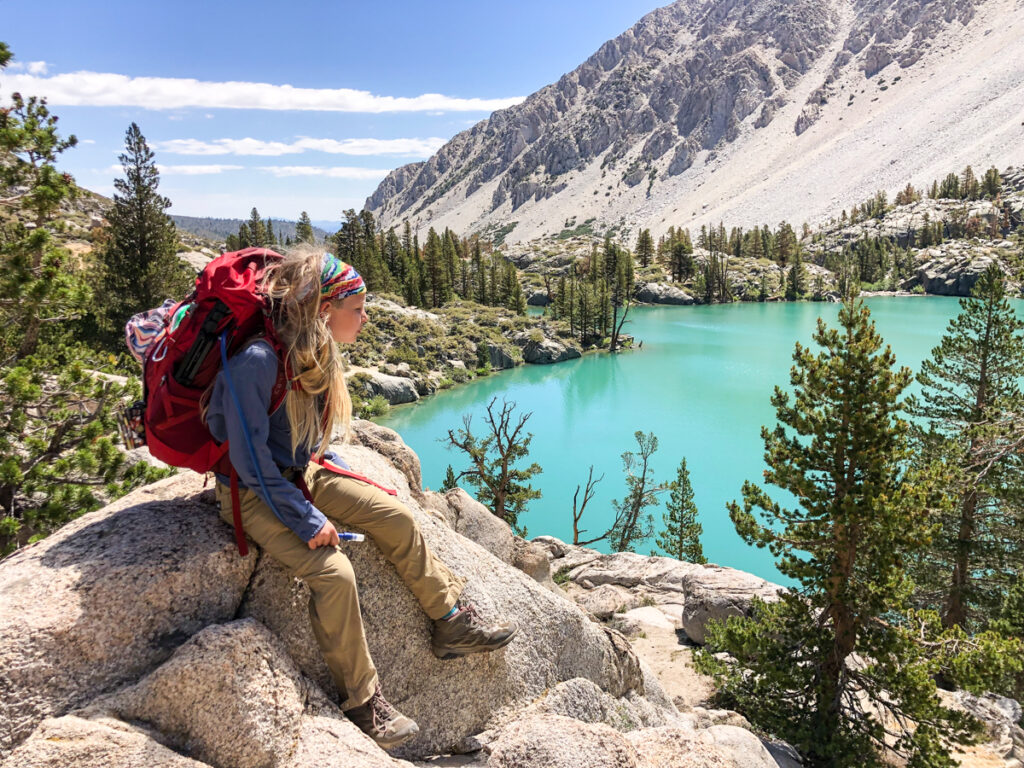 Kid observing First Lake on the Big Pine Lakes Trail