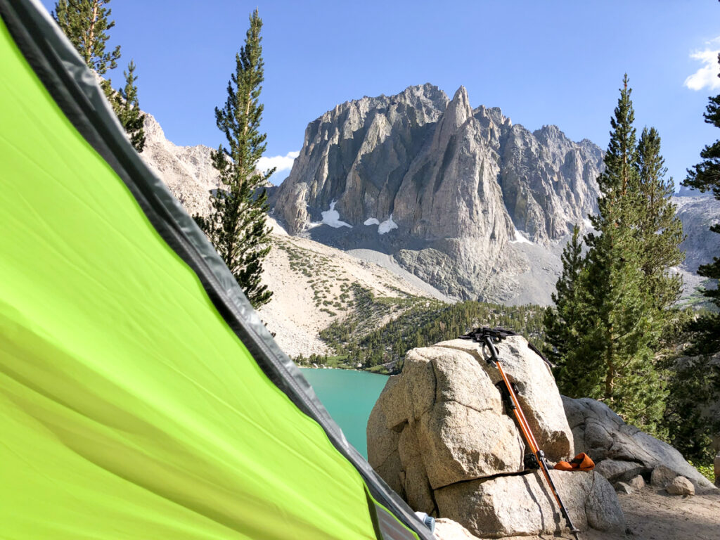 view from a tent while backpacking in Big Pine Lakes