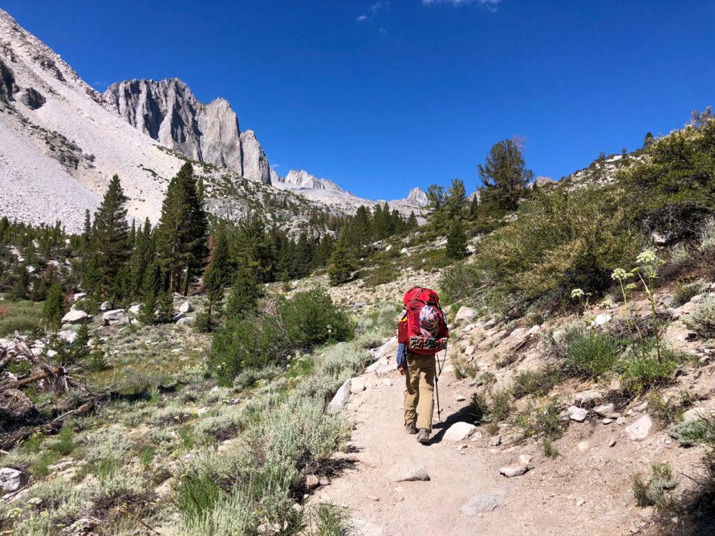 Kid hiking on the Big Pine Lakes Trail in California