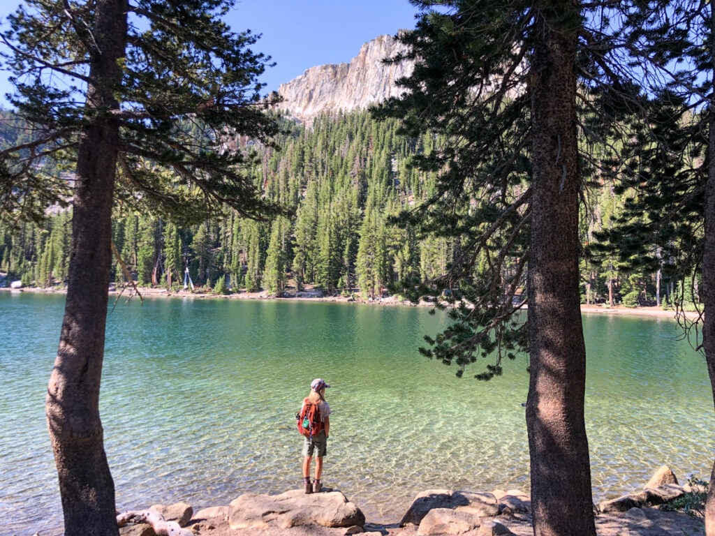 Kid at McLeod Lake - one of the best things to do in Mammoth Lakes CA