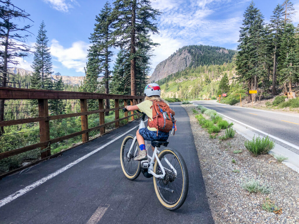 Kid riding an electric bike in Mammoth Lakes CA